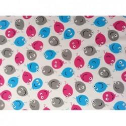 Tkanina baloniki różowy  jasny szary turkus  na...