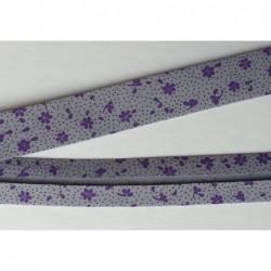 Lamówka kwiatki fioletowe na szarym bawełna