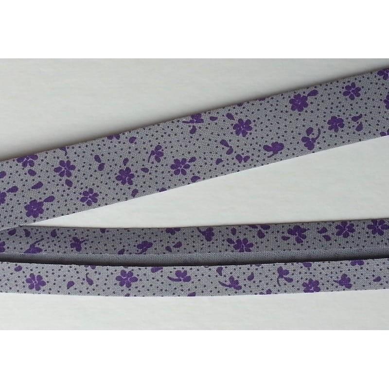 Lamówka kwiatki fioletowe na szarym bawełna...