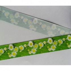 Tasiemka ozdobna 2,5 cm kwiatki rumianki na...