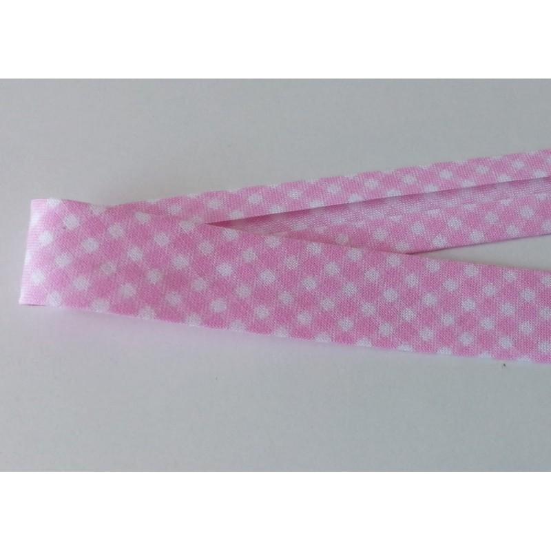 Lamówka kratka biały różowy bawełna