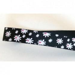 Tasiemka ozdobna 1 cm kwiatki białe na czarnym...