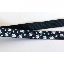 Tasiemka ozdobna 1 cm kwiatki białe na czarnym