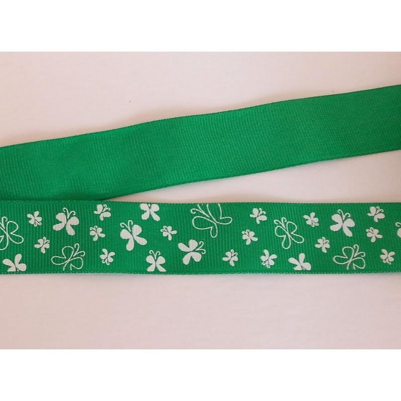 Tasiemka ozdobna 2,6 cm motylki  białe na zielonym