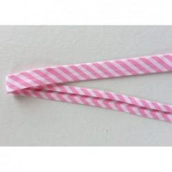 Lamówka pasy paski biały różowy bawełna