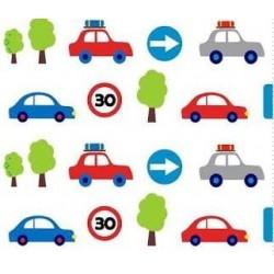 Tkanina samochody auta znaki drogowe na białym...