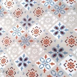 Tkanina KAFELKI kwiaty rozeta szary niebieski...