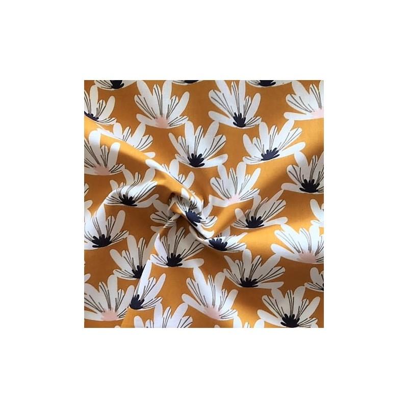 Bawełna MYRIEL magnolie na musztardowym...