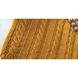 Panel dziany kocykowy WARKOCZ 105x85 cm MUSZTARDA