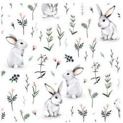 Bawełna premium KRÓLIKI szare na trawie na białym