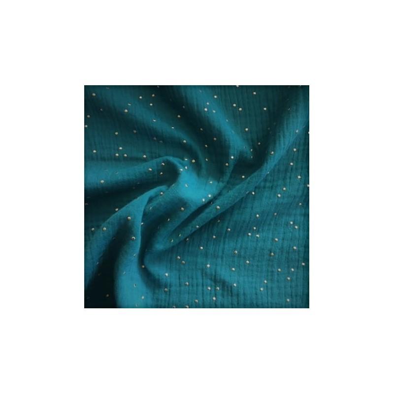 MUŚLIN bawełniany GOLD kropki PAON zielony morski