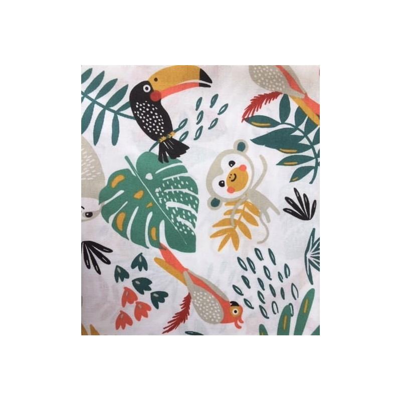 Bawełna PAPAYA tukan papuga leniwiec liście na białym