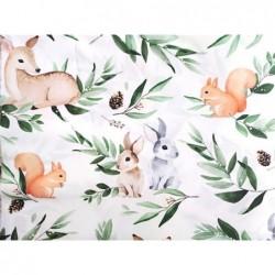Wiskoza bambusowa bambus LEŚNE zwierzaki na białym