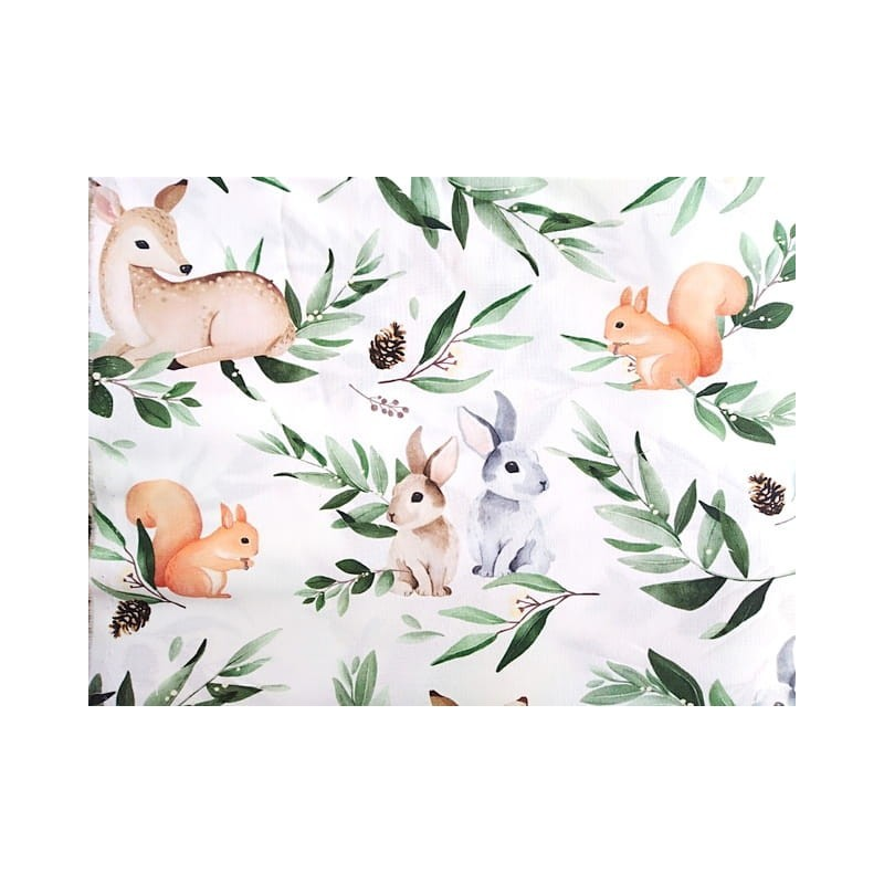 Tkanina bambusowa bambus LEŚNE zwierzaki na białym