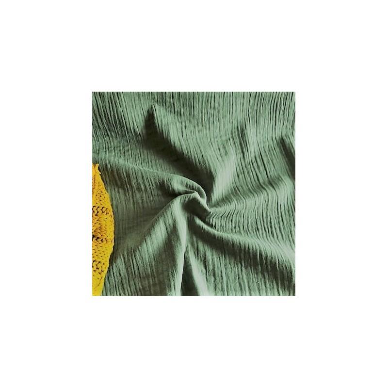MUŚLIN bawełniany KAKI zielony jasny zgaszony