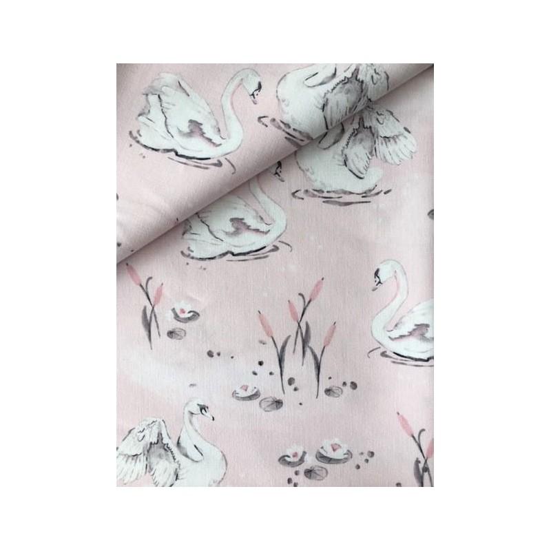 Bawełna PREMIUM ŁABĘDZIE na jasnym różowym...
