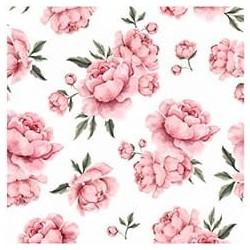 Poliester wodoodporny PEONIE różowe na białym...