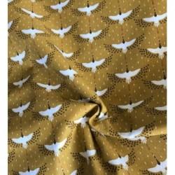 Bawełna GRUZZIE żuraw żurawie  na musztardowym