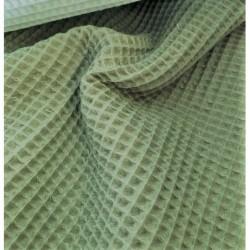 Bawełna WAFEL mały KAKI zgaszony zielony...