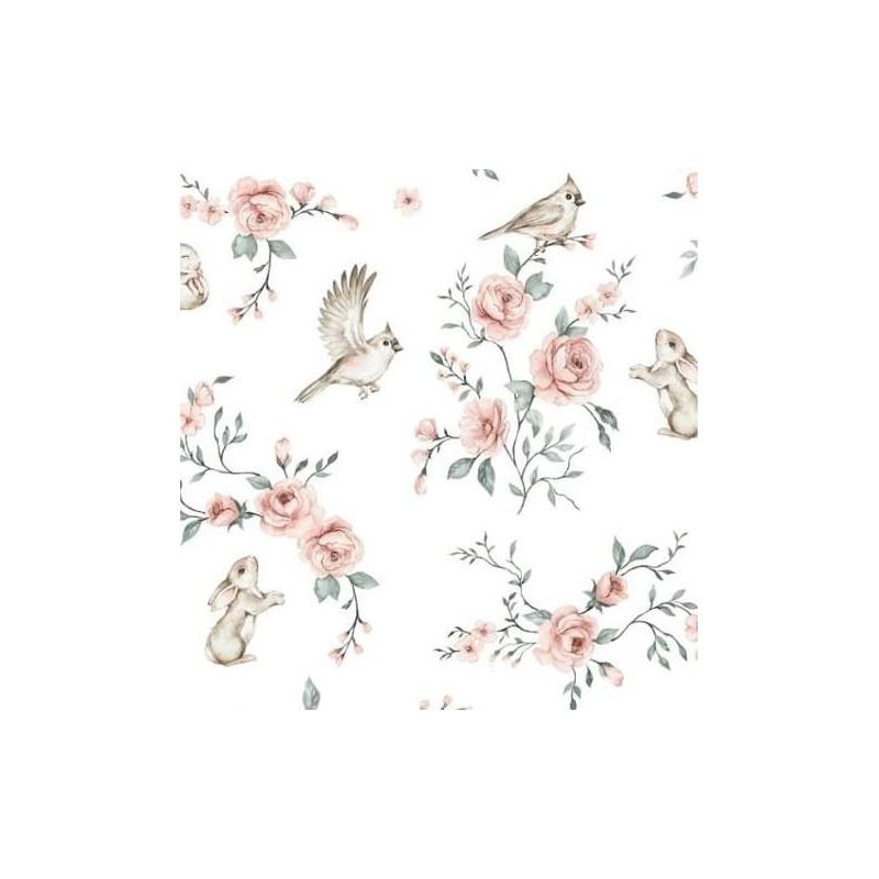 Bawełna premium PTASZKI ZAJĄCZKI wśród kwiatów AMELIE