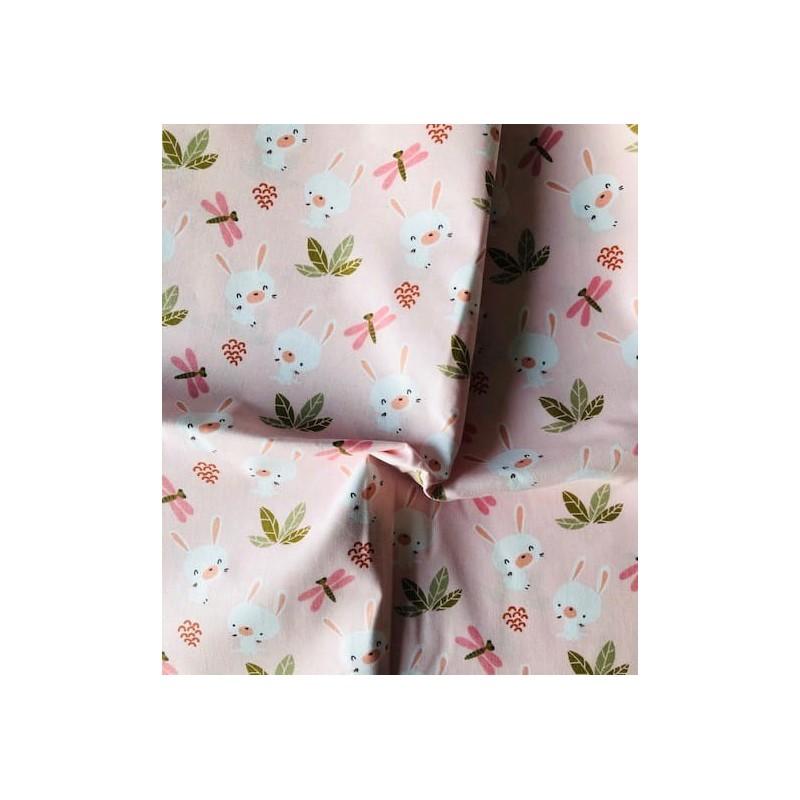 Bawełna KRÓLIK słodziak ważki na różowym...