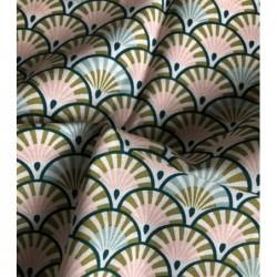 Bawełna duże wachlarze turkus PAON różowy YONA