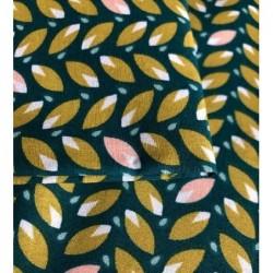 Bawełna listki zielony, różowy na zielonym...