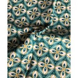 Bawełna kwiaty rozety turkuz zielony PAON LIVY...