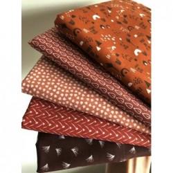 Bawełna ciapki małe białe na pudrowo rudym LIPELO