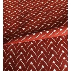Bawełna TIPI GÓRY białe na głębokim rudym...
