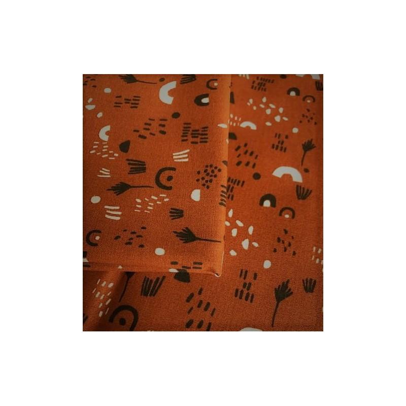 Bawełna Tęcza TIPI kreseczki na rudym...