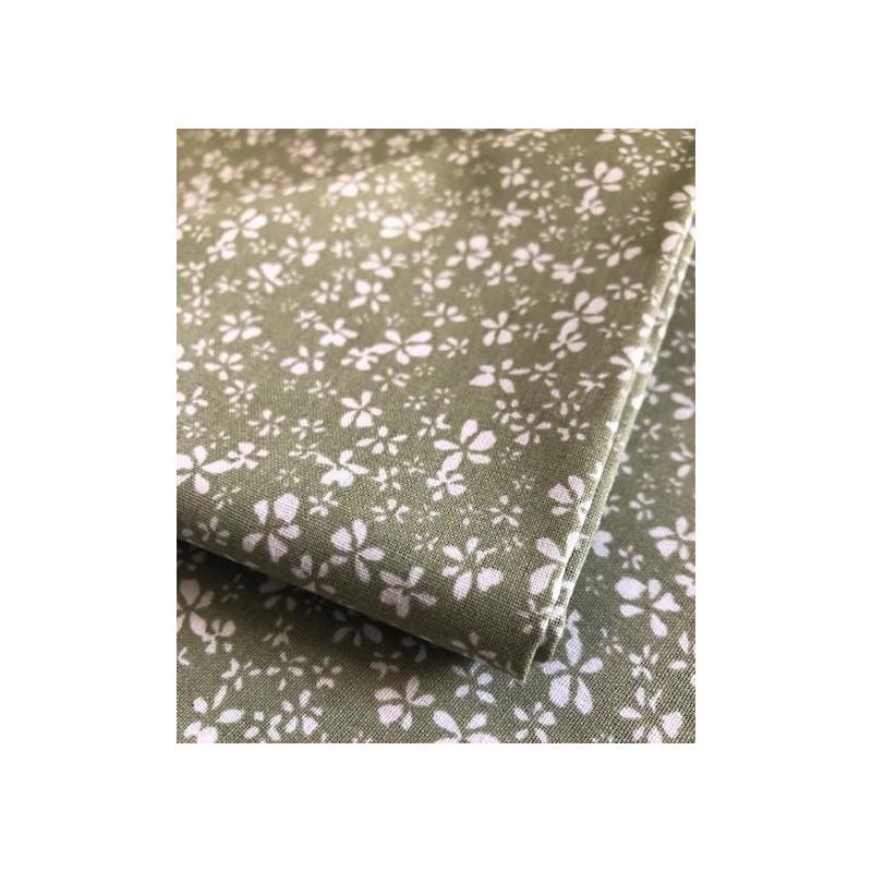 Bawełna kwiatki na szarym z poświatą zielonego...