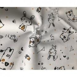 Bawełna TAŃCZĄCE kotki i króliki czarne...