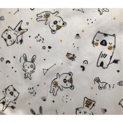 Bawełna TAŃCZĄCE kotki i króliki czarne musztardowy na białym OSTATNIE 10M