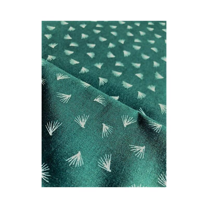 Bawełna DMUCHAWCE białe na ciemnym zielonym z...