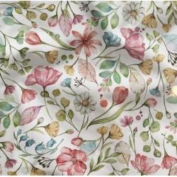 Bawełna premium KWIATY POLNE kolorowe na białym...