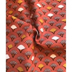 Bawełna średnie WACHLARZE pomarańcz rudy MUJI