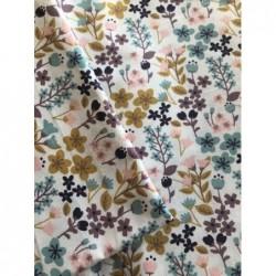 Bawełna kwiaty drobne łąka musztarda fiolet...