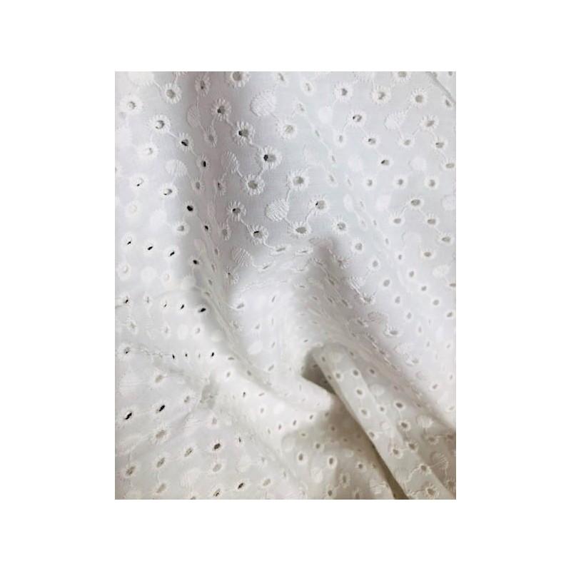 Tkanina haftowana bawełna wiskoza kółeczka na...