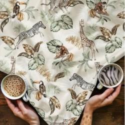 Bawełna premium SAFARI WILD zebra żyrafa paprocie