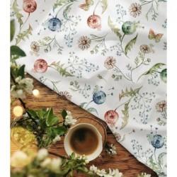 Bawełna premium DMUCHAWCE kwiaty łąka na białym...