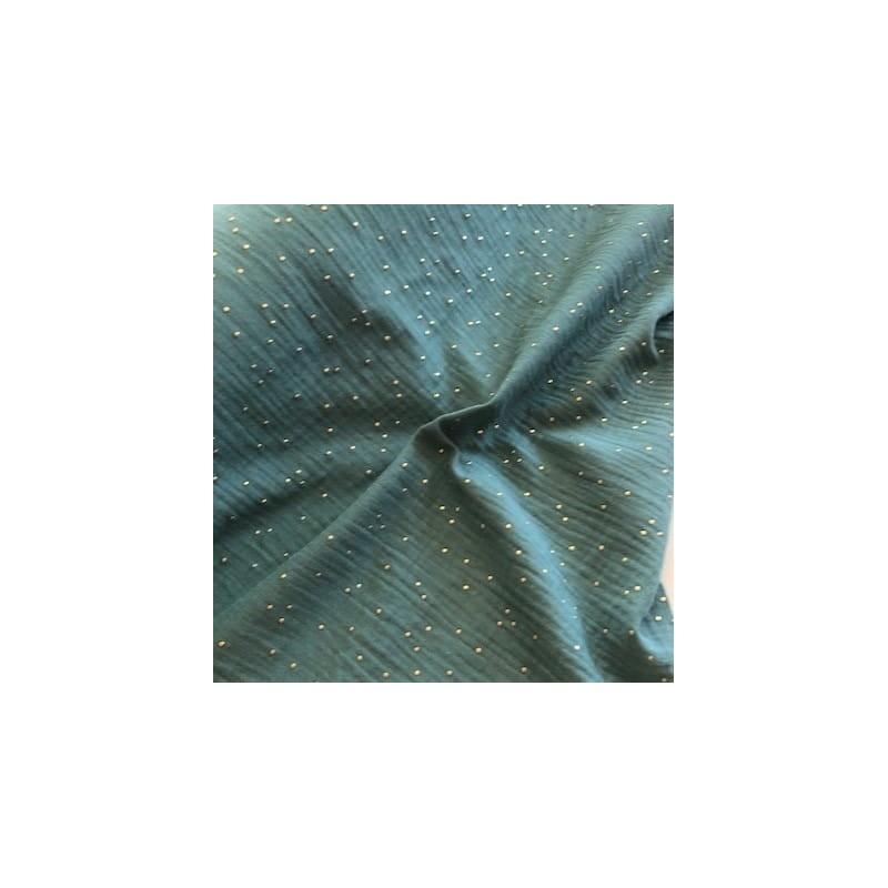 MUŚLIN bawełniany GOLD  kropki EUKALIPTUS zielony