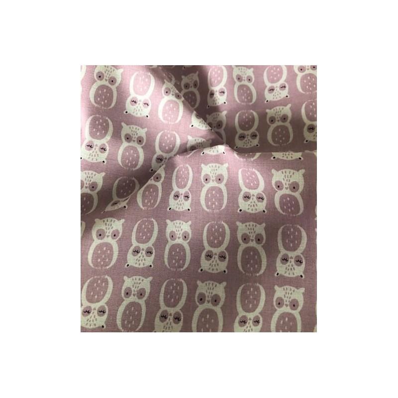Bawełna sowy sówki na fioletowym pastelowym CHOUNI