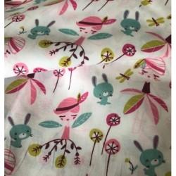 Bawełna WRÓŻKI króliczki dmuchawce różowy...