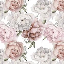 Bawełna premium Kwiaty PEONIE PEONY na pudrowe...