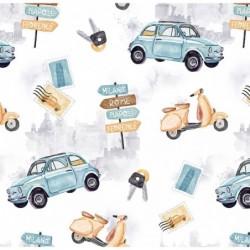 Bawełna premium ITALY auta SKUTERY samochody na...