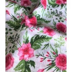 TETRA bawełniana Kwiaty róże różowy zielony na...
