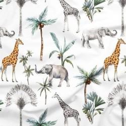 Poliester wodoodporny SAFARI żyrafa słoń palma...