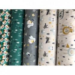 Bawełna AYOG pingwiny pieski w szalikach na...