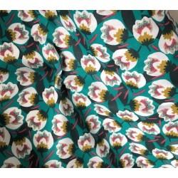 Bawełna DIWEO kwiaty peonie białe na zielonym...